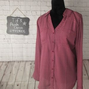 Express The Portofino Shirt Polka Dot Sz Lg E42